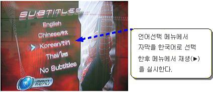 언어선택 메뉴에서 자막을 한국어로 선택 한후 메뉴에서 재생을 실시
